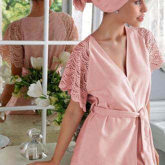 Подарочный набор с халатом Tivolyo Home SANTROPEZ хлопковая махра (розовый)