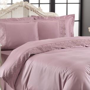 Постельное белье Tivolyo Home LINA хлопковый сатин делюкс фиолетовый семейный