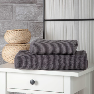 Полотенце для ванной Karna LINDA хлопковая махра серый 50*80