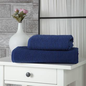 Полотенце для ванной Karna LINDA хлопковая махра синий 50*80