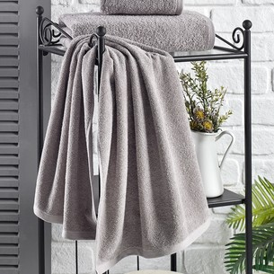 Полотенце для ванной Karna EFOR хлопковая махра серый 40х60