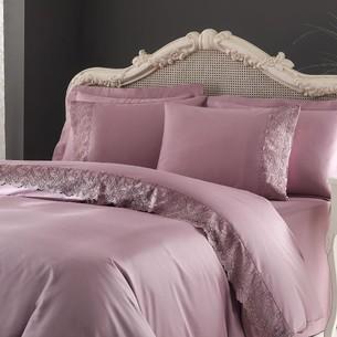 Постельное белье Tivolyo Home REGINA хлопковый сатин делюкс фиолетовый евро