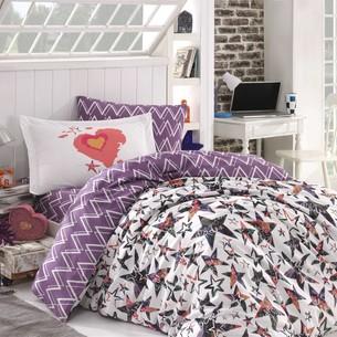 Детское постельное белье Hobby Home Collection CARMEN хлопковый поплин лиловый 1,5 спальный