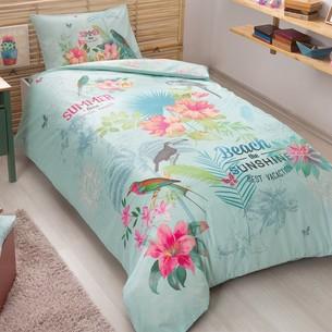 Комплект подросткового постельного белья TAC SUMMER хлопковый ранфорс бирюзовый 1,5 спальный