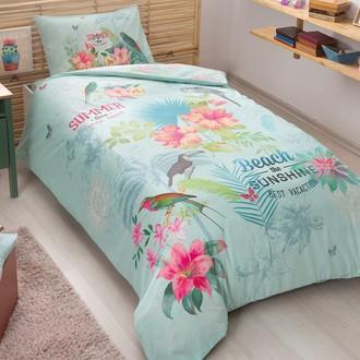 Комплект подросткового постельного белья TAC SUMMER хлопковый ранфорс (бирюзовый)