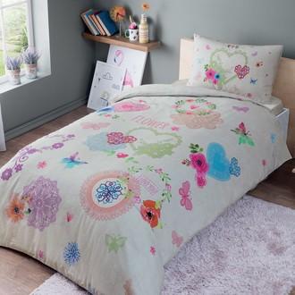 Комплект подросткового постельного белья TAC DOTTIE хлопковый ранфорс (розовый)