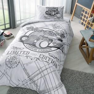 Комплект подросткового постельного белья TAC RODS хлопковый ранфорс серый 1,5 спальный
