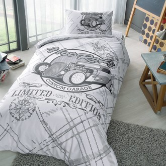 Комплект подросткового постельного белья TAC RODS хлопковый ранфорс серый