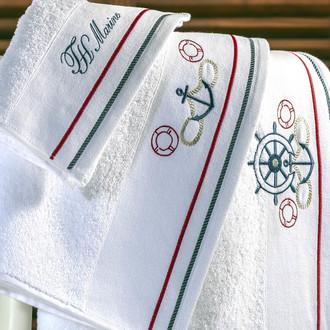 Полотенце для ванной Tivolyo Home NAVY хлопковая махра (белый)
