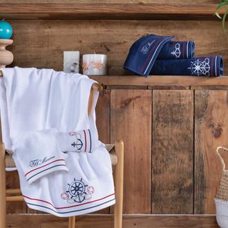 Подарочный набор полотенец для ванной 3 пр. + спрей Tivolyo Home NAVY хлопковая махра (синий)