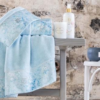 Подарочный набор полотенец для ванной 3 пр. + спрей Tivolyo Home MIRAGE хлопковая махра синий