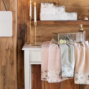 Подарочный набор полотенец для ванной 3 пр. + спрей Tivolyo Home ROSELAND хлопковая махра кремовый