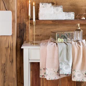 Подарочный набор полотенец для ванной 3 пр. + спрей Tivolyo Home ROSELAND хлопковая махра (кремовый)