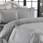Постельное белье Tivolyo Home LINA хлопковый сатин делюкс серый 1,5 спальный, фото, фотография