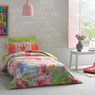 Детское постельное белье Tivolyo Home MAGIC хлопковый сатин делюкс зелёный 1,5 спальный