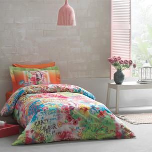 Детское постельное белье Tivolyo Home MAGIC хлопковый сатин делюкс оранжевый 1,5 спальный
