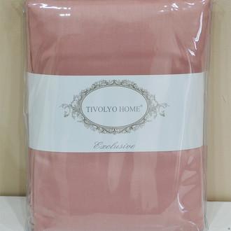 Простынь на резинке Tivolyo Home хлопковый сатин делюкс грязно-розовый
