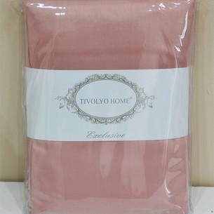 Простынь Tivolyo Home хлопковый сатин делюкс грязно-розовый 180х260