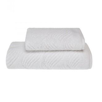 Набор полотенец для ванной 2 пр. Soft Cotton WAVE хлопковая махра (белый)