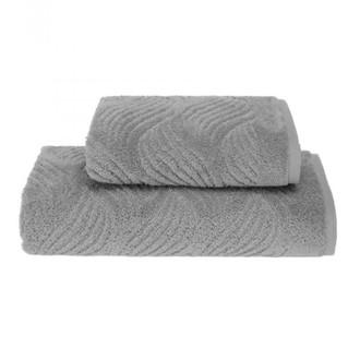 Набор полотенец для ванной 2 пр. Soft Cotton WAVE хлопковая махра (серый)