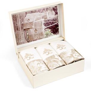 Набор полотенец-салфеток в подарочной упаковке 30х50 3 шт. Tivolyo Home VITALY хлопковая махра кремовый