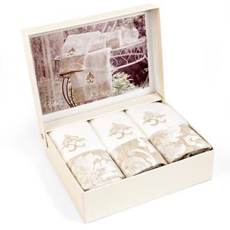 Набор полотенец-салфеток в подарочной упаковке 30*50 3 шт. Tivolyo Home VITALY хлопковая махра кремовый