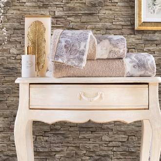 Подарочный набор полотенец для ванной 3 пр. + спрей Tivolyo Home JAVIER хлопковая махра бежевый