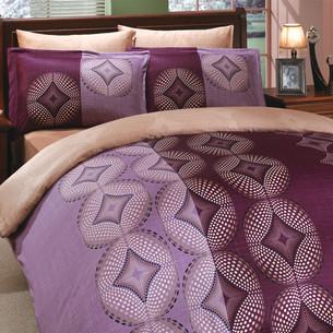 Постельное белье Hobby Home Collection GRIS хлопковый сатин фиолетовый семейный