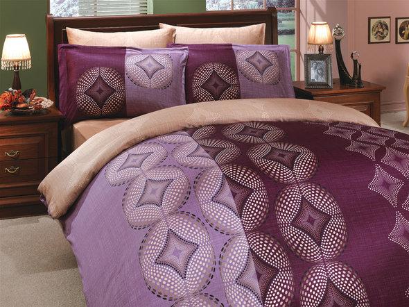 Постельное белье Hobby Home Collection GRIS хлопковый сатин (фиолетовый) семейный, фото, фотография