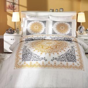 Постельное белье Hobby Hobby Collection SAPHIRE хлопковый сатин золотой семейный