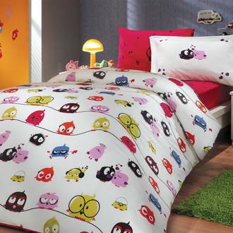 Комплект детского постельного белья Hobby Home Collection CRAZY BIRDS хлопковый поплин (фуксия)