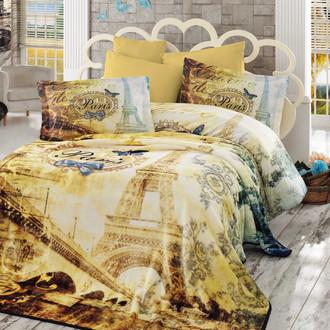 Постельное белье с покрывалом Hobby Home Collection VIVALDI хлопковый поплин золотой