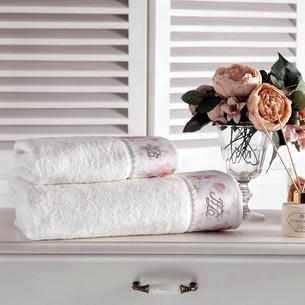 Подарочный набор полотенец для ванной 2 пр. Tivolyo Home CHERISH хлопковая махра кремовый