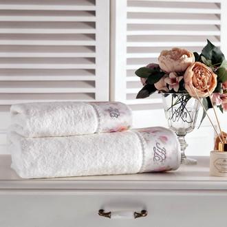 Подарочный набор полотенец для ванной 2 пр. Tivolyo Home CHERISH хлопковая махра (кремовый)