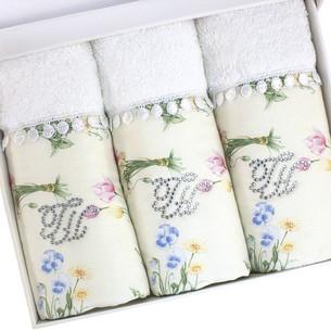 Набор полотенец-салфеток в подарочной упаковке 30х50 3 шт. Tivolyo Home ELENORE хлопковая махра кремовый