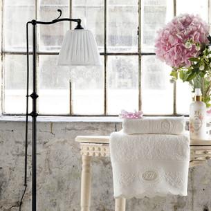 Подарочный набор полотенец для ванной 2 пр. Tivolyo Home ANTOINETTE хлопковая махра кремовый