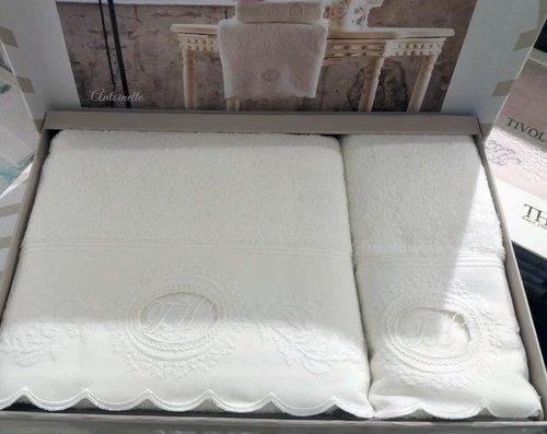 Подарочный набор полотенец для ванной 2 пр. Tivolyo Home ANTOINETTE хлопковая махра кремовый, фото, фотография