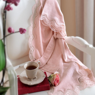 Подарочный набор с халатом Tivolyo Home BAMBOO бамбуково-хлопковая махра розовый