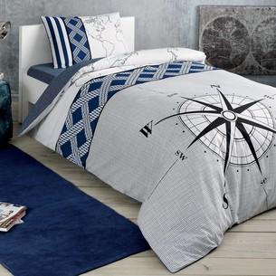 Комплект подросткового постельного белья TAC NAVI хлопковый ранфорс синий 1,5 спальный