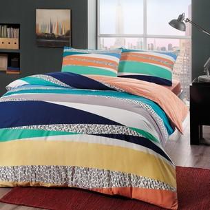 Комплект подросткового постельного белья TAC GENESIS хлопковый ранфорс голубой евро