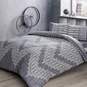 Комплект подросткового постельного белья TAC LEE хлопковый ранфорс серый евро