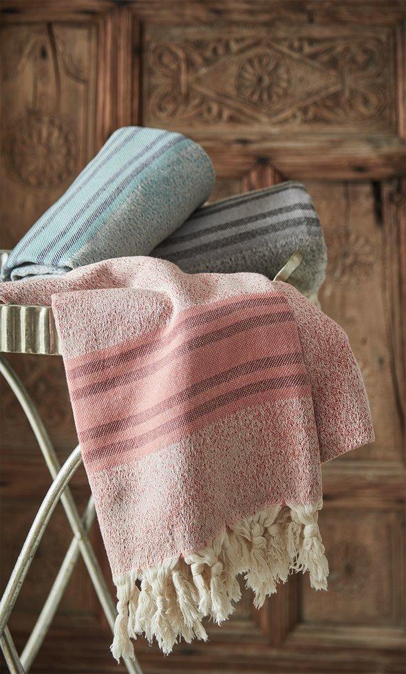 Пештемаль (пляжное полотенце, палантин) Ecocotton MILA органический хлопок бирюзовый 90*180, фото, фотография