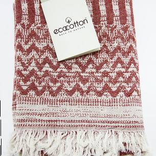 Пештемаль (пляжное полотенце, палантин) Ecocotton KARLA органический хлопок терракотовый 90х180