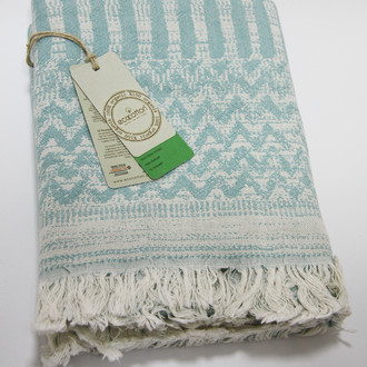 Пештемаль (пляжное полотенце, палантин) Ecocotton KARLA органический хлопок (бирюзовый)