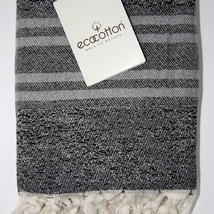 Пештемаль (пляжное полотенце, палантин) Ecocotton MILA органический хлопок серый 90х180