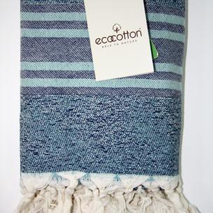 Пештемаль (пляжное полотенце, палантин) Ecocotton MILA органический хлопок бирюзовый 90х180