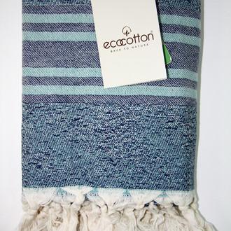 Пештемаль (пляжное полотенце, палантин) Ecocotton MILA органический хлопок (бирюзовый)
