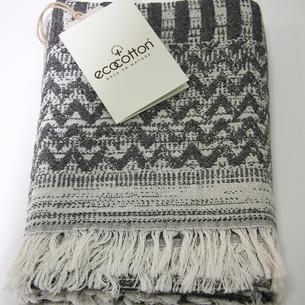 Пештемаль (пляжное полотенце, палантин) Ecocotton KARLA органический хлопок чёрный 90х180
