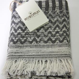 Пештемаль (пляжное полотенце, палантин) Ecocotton KARLA органический хлопок (чёрный)