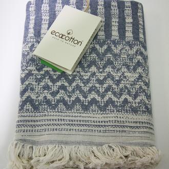 Пештемаль (пляжное полотенце, палантин) Ecocotton KARLA органический хлопок (синий)